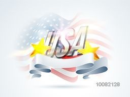 Glossy Text U.S.A with Golden Stars and Stylish Blank Ribbon on waving American Flag background for 4th of July, Independence Day celebration.