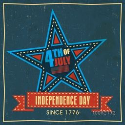 Vintage Poster, Banner or Flyer design with Creative Star and Ribbon for 4th of July, American Independence Day celebration.