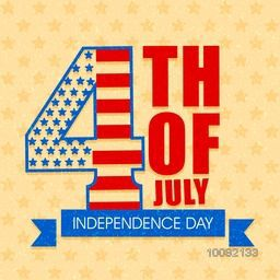 Stylish Text 4th of July on stars decorated yellow background, Elegant greeting card design for American Independence Day celebration.