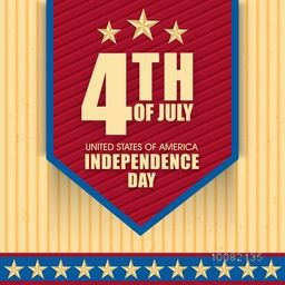 Stylish Text 4th of July on creative background, Elegant Poster, Banner or Flyer design for American Independence Day celebration.