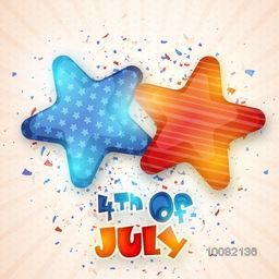 Creative Glossy Stars for 4th of July, American Independence Day celebration.