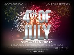 Creative Invitation Card design with Glossy 3D Text 4th of July on beautiful fireworks background for American Independence Day celebration.