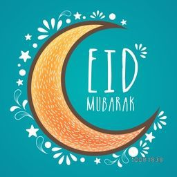 Elegant greeting card with creative crescent moon on floral design decorated sky blue background for Islamic Famous Festival, Eid Mubarak celebration.