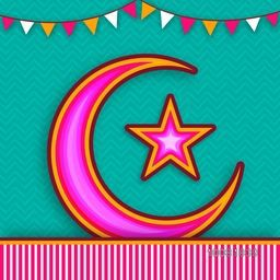 Creative Crescent Moon with Star on green background, Elegant greeting card design for Muslim Community Festival celebration.