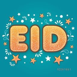 Elegant greeting card design with Stylish Text Eid on stars and floral design decorated background for Muslim Community Festival celebration.