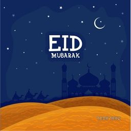 View of a desert with silhouette of Mosque and Arabian Men riding camel on night background, Concept for Islamic Famous Festival, Eid Mubarak celebration.