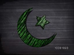 Creative Green Crescent Moon with Star on stylish background for Islamic Festivals celebration concept.