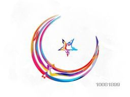Colourful Arabic Islamic Calligraphy of text Eid Mubarak in creative Crescent Moon and Star shape on shiny background.