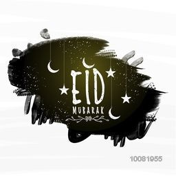 Stylish text Eid Mubarak with hanging Stars and Crescent Moon on black paint stroke background for Muslim Community Festival celebration.