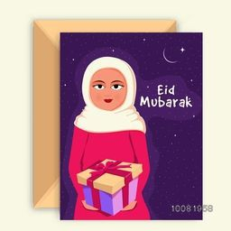 Beautiful greeting card with illustration of a Islamic Girl in traditional clothes holding gift and celebrating on occasion of Eid Mubarak.