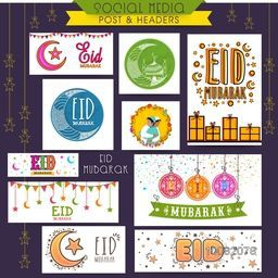 Social Media Post and Header set with various islamic elements for Muslim Community Festival, Eid Mubarak celebration.