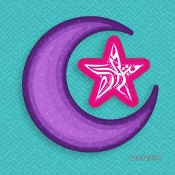 Creative Big Crescent Moon with Arabic Islamic Calligraphy of text Eid Mubarak in Star shape for Muslim Community Festival celebration.