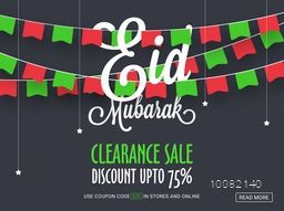 Colourful party flags decorated elegant, Eid Sale Poster, Sale Banner, Sale Flyer, Clearance Discount Offer upto 70%, Vector Illustration.