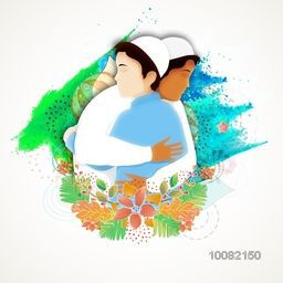 Illustration of Islamic Men hugging and giving wishes to each others on occasion of Muslim Community Festivals.