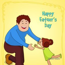 Happy Father playing with his cute little daughter on yellow background, Elegant greeting card design for Happy Father's Day celebration.