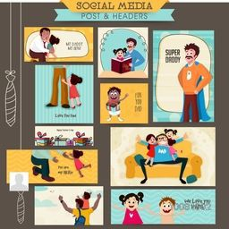 Creative Social Media Post and Header set with different cute father and kids characters for Happy Father's Day celebration.