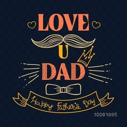Elegant Greeting Card design with Stylish Text Love You Dad for Happy Father's Day celebration.