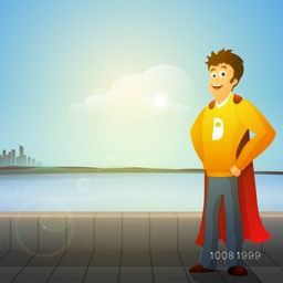Young happy man in super hero costume on beautiful nature view background for Happy Father's Day celebration.