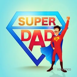 Happy Super Dad on glossy background for Father's Day celebration concept.