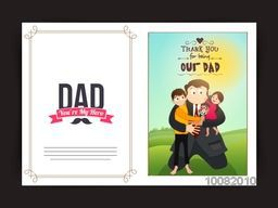 Beautiful Greeting Card design with illustration of a man holding his children on nature background for Happy Father's Day celebration.