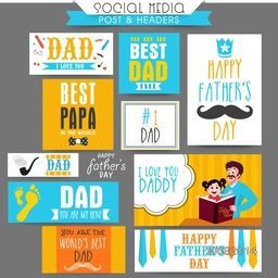 Social Media Post and Header set with different typographic collection for Happy Father's Day celebration.