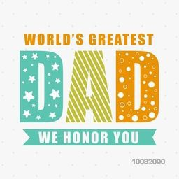 Elegant greeting card design with stylish colorful text Dad for Happy Father's Day celebration.