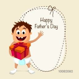Happy Father's Day greeting card design with illustration of cute boy holding gift and space for your wishes.