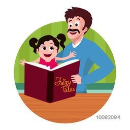 Cute little daughter and her father reading fairy tales for Happy Father's Day celebration.