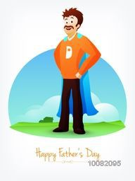 Young father in super man outfits on nature background for Happy Father's Day celebration.
