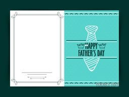 Elegant greeting card design with illustration of a tie for Happy Father's Day celebration.