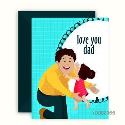 Cute little girl running towards her father, Elegant greeting card design with envelope for Happy Father's Day celebration.