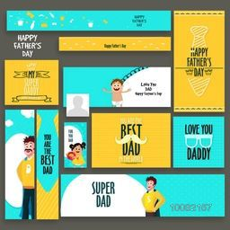 Social Media Post, Header or Banner set for Happy Father's Day celebration.