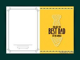 Elegant greeting card design with illustration of a tie on yellow background for Happy Father's Day celebration.