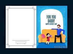 Illustration of cute daughter giving gift to her father, Elegant greeting card design for Happy Father's Day celebration.