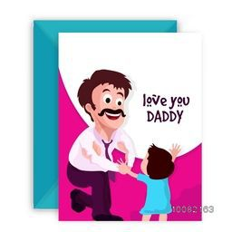 Illustration of a father showing muscles to his cute daughter, Elegant greeting card design with envelope for Happy Father's Day celebration.