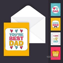 Elegant greeting card design in four different creative styles with envelope for Happy Father's Day celebration.