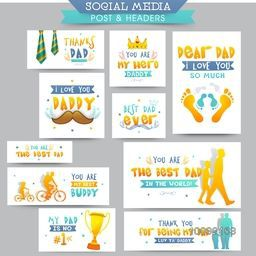 Social Media Post and Header set with different typographic collection and creative elements for Happy Father's Day celebration.