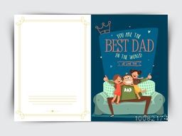 Elegant Greeting Card design with illustration of cute daughters loving their father on occasion of Father's Day celebration.