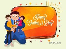 Father holding his cute children, Elegant greeting card design for Happy Father's Day celebration.
