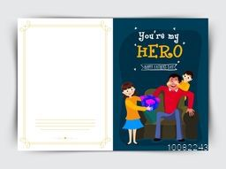 Elegant greeting card design with illustration of cute kids giving surprise to their father for Happy Father's Day celebration.