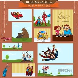 Social media ads, post or header set decorated with various elements for Happy Father's Day celebration.