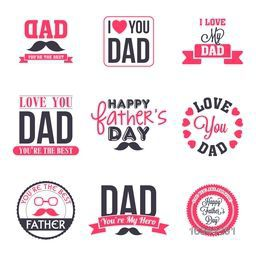 Creative different typographic collection, labels, stickers, badges and ribbons for Happy Father's Day celebration.
