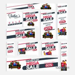 Sale social media header or banner set for Happy Father's Day celebration.