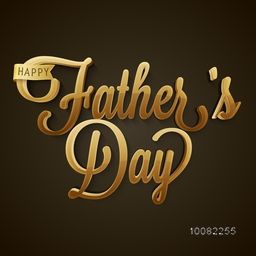 Beautiful Golden Text Father's Day on brown background, Elegant greeting card design for Happy Father's Day celebration.