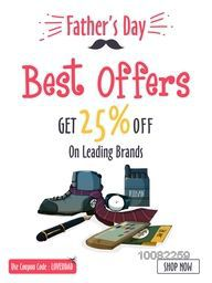 Father's Day Sale with Best Discount offer, Creative Template, Banner or Flyer design with illustration of different accessories on white background.