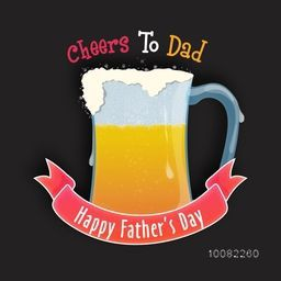 Cheers to Dad, Creative illustration of a beer mug with glossy ribbon for Happy Father's Day celebration.