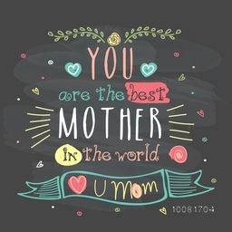 Elegant greeting card design with creative typographical background for Happy Mother's Day celebration.