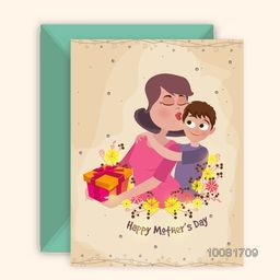 Beautiful mother loving for cute son, Creative Greeting Card design with Envelope for Mother's Day celebration.
