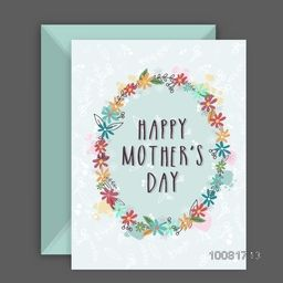 Colorful flowers decorated, Greeting card design with Envelope for Happy Mother's Day celebration.