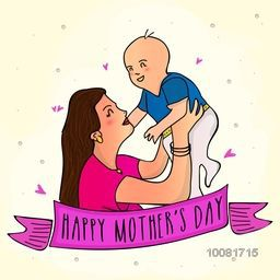 Illustration of a Mother playing with her cute Baby on hearts decorated background for Happy Mother's Day celebration.